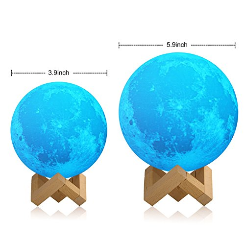 [Upgraded TapControl Version] 3D Printing Moon Lamp With Wooden Stand & Lanyard -Rechargeable LED Moon Light Table Desk Lamp, Lunar Night Light for Bedroom, Multi-colors Lantern for Kids, Astronomers