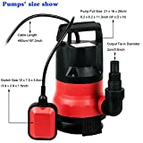 Rendio 1/2 HP Sump Pump Submersible Water Pump Clean/Dirty Water 2115GPH 400W 15ft Cable and Float Switch (Red)