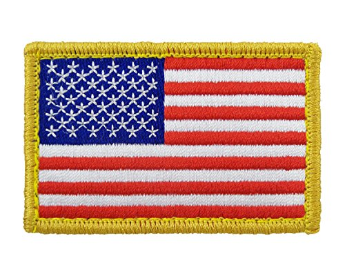 USA American Flag Tactical Patch Velcro Fully Embroidered Morale Tags (Red, White & Blue) (American Flag Patch Cool)