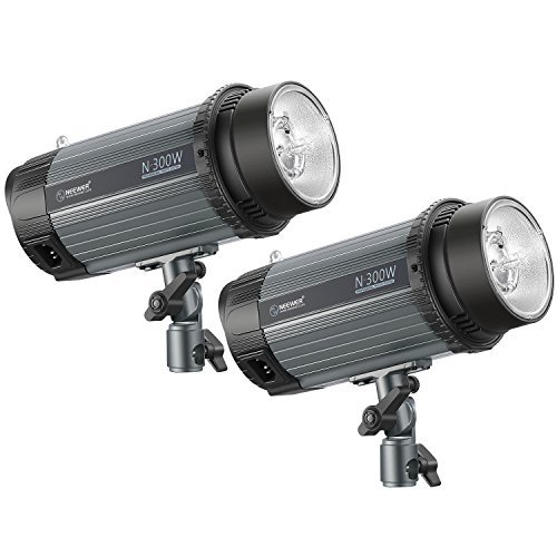 Neewer 600W (2-Pack 300W) 5600K Photo Studio Strobe Flash Light Monolight with Modeling Lamp,Aluminium Alloy Speedlite for Indoor Studio Location Model Photography,Portrait Photography(N-300W) by Neewer