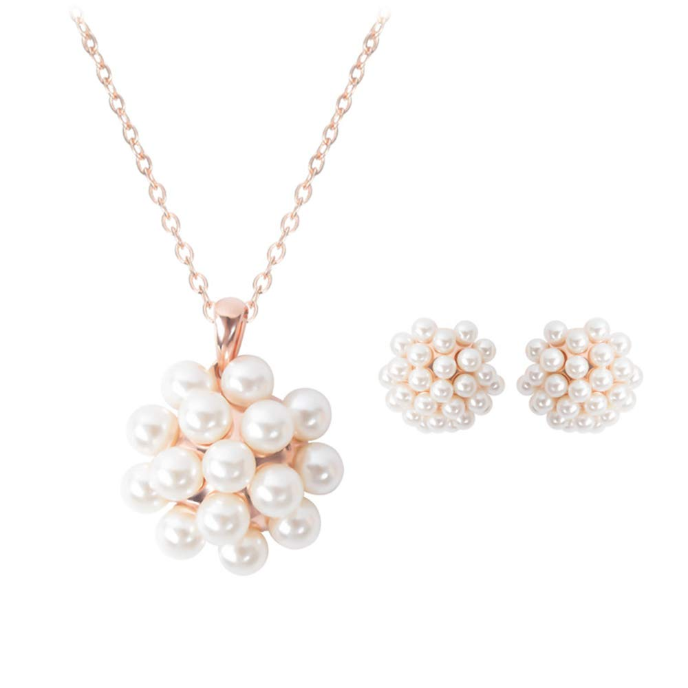 Amazing Fashion pop Jewelry with Pearls Earrings Two-Piece Bridal Wedding Jewelry
