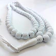 White Plastic Tasbih with Silver Allah Muhammad Beads - 7mm Muslim Prayer Beads Rosary