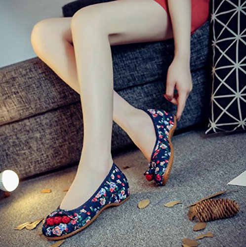 Lazutom Women Chinese Style Comfortable Casual Walking Shoes Ballerina Flats Blue 2 WGD4lkbR8