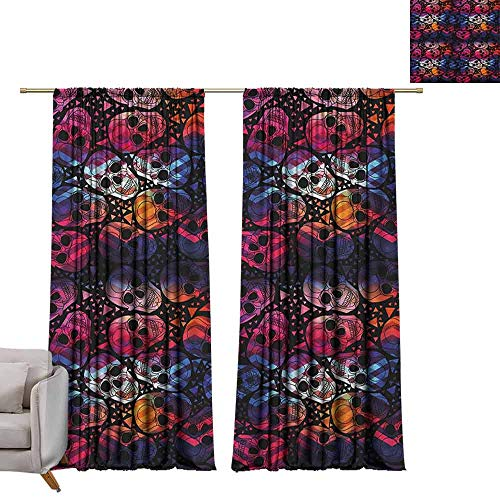 Decor Curtains by Halloween,Mexican Sugar Skulls Stylized Digital Polygonal Geometric All Saint Day Display, Multicolor W72 x L84 Blackout Draperies for -