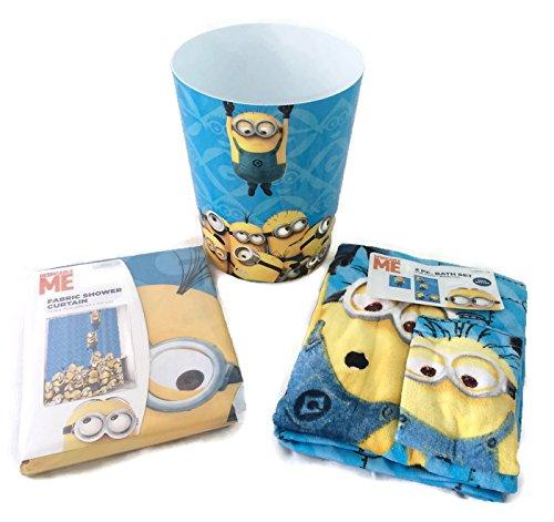 Good Despicable Me Minion 4 Piece Bath Set Shower Curtain, Bath Towel,  Washcloth, Wastebasket Bundle