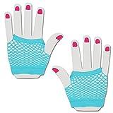 SHORT FISHNET HAND GLOVES PARTY FANCY DRESS TUTU (Blue)