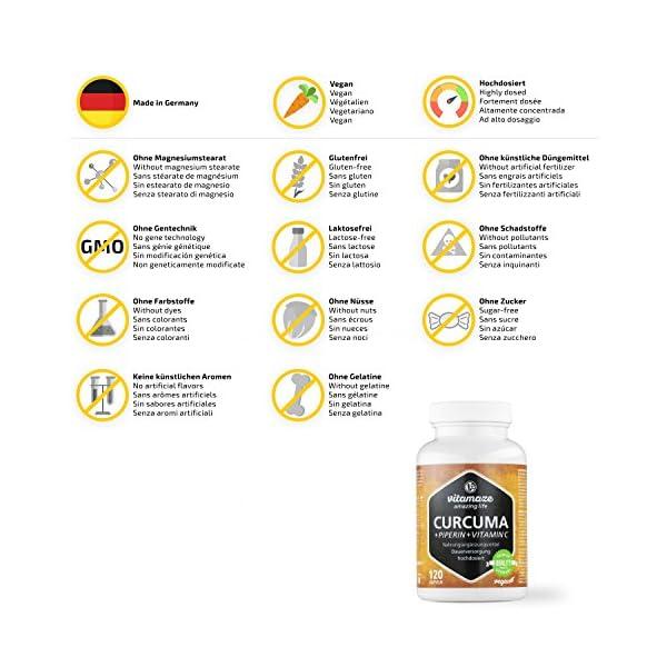 Vitamaze® Curcuma e Piperina plus Vitamina C ad Alto Dosaggio, L'Estratto 95% da Curcumina Pura, 120 Capsule Vegan per…