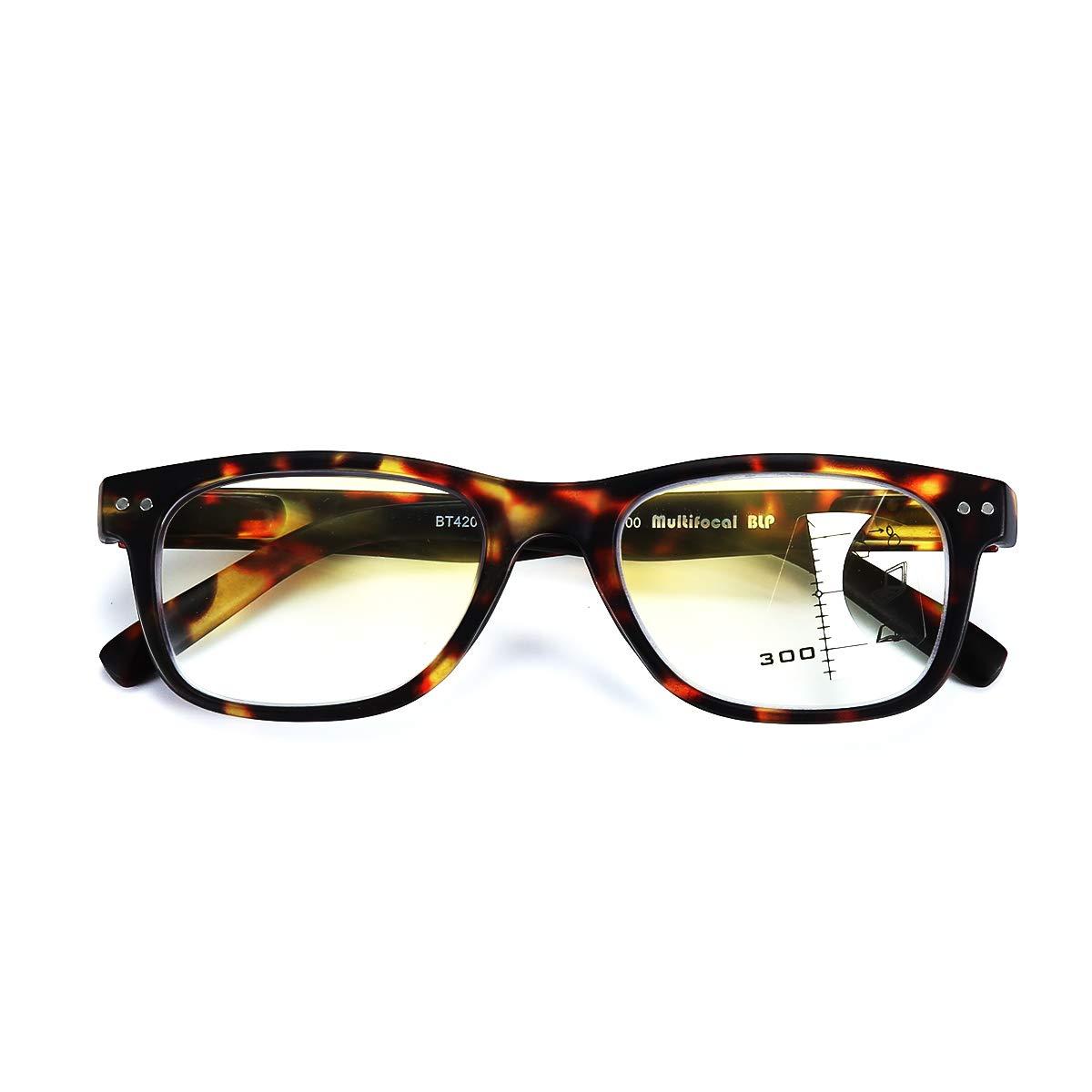 Raggi Blu Montatura per Occhiali da Uomo e Donna TARTARUGA, 3.50x Occhiali da Lettura Multifocali Progressivi ClassicI Anti