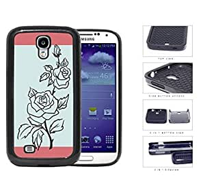 Black Rose Outline With Blue Background 2-Piece Dual Layer High Impact Rubber Silicone Cell Phone Case Samsung Galaxy S4 SIV I9500