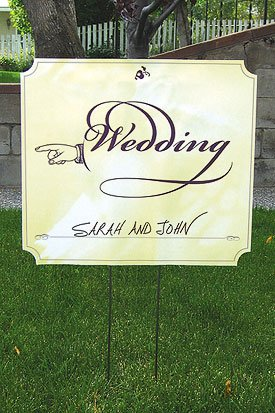 wedding directional signs directing left