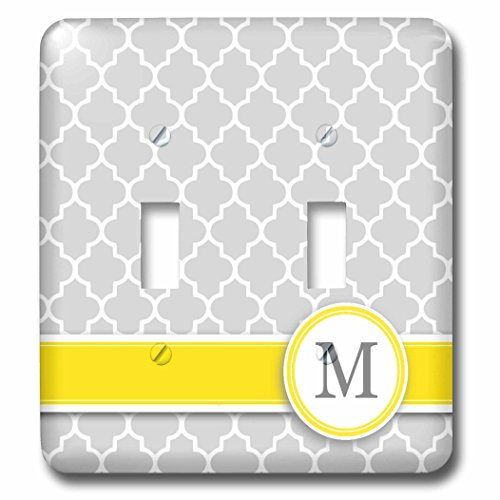 3dRose lsp_154579_2 Your Personal Name Initial Letter M Monogrammed Grey Quatrefoil Pattern Personalized Yellow Gray Double Toggle Switch