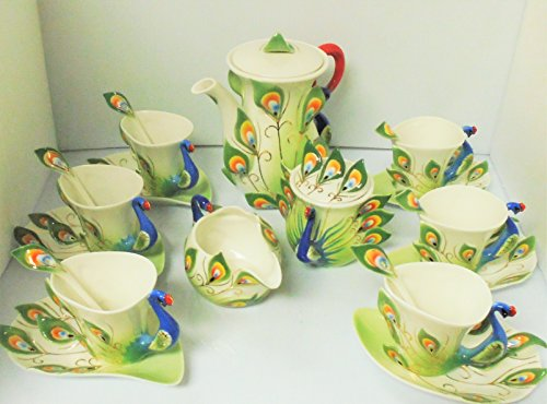 Handcrafted Porcelain Blue/Green Peacock Design Tea/Coffee Set, 23 Pieces TEACUPGB