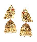 Bindhani Indian Bollywood Wedding Matte Gold Finished Peacock Jhumka Jhumki Earrings Jewelry For Women