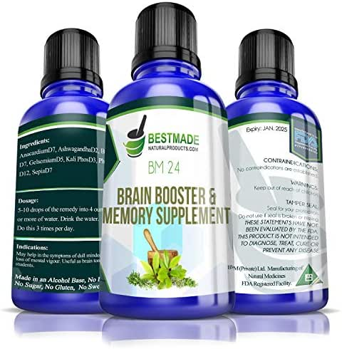 Brain Booster & Memory Supplement BM24, 30mL, Naturally Boost Brain Function, Improve Focus and Memory, Provides Clarity of Thought, Supports Learning Great for Exams, Reduces Stress, Caffeine Free