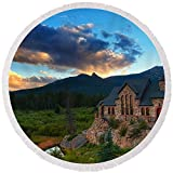 Pixels Round Beach Towel With Tassels featuring ''Rocky Mountain Stone Church'' by Darren White