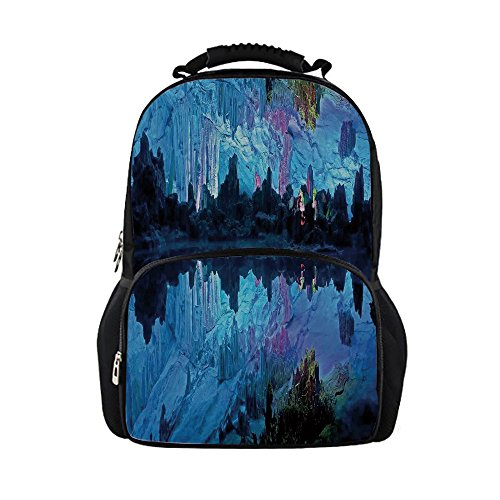iPrint Kids School Bag Natural Cave Decorations,Illuminated Reed Flute Cistern Artifical Crystal Palace Myst Cave Image,Blue Girls boys ()