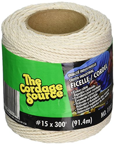 Cordage Source 1111 No.15 Cotton Cable Cord, 300-Feet (Poly Bag Cable)