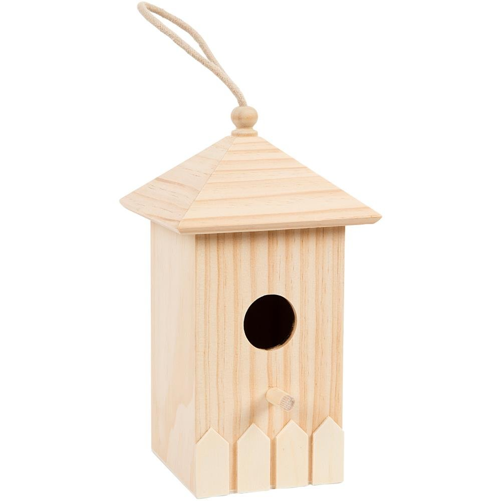 Darice Birdhouse with Picket Fence and Rope Hanger Wood Bird House, Multi