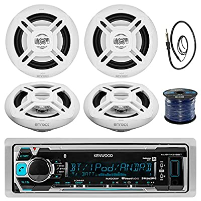 """Kenwood KMR-M318BT In-Dash Marine Boat Audio Bluetooth USB Receiver Bundle Combo With 4x Enrock EKMR1672 6.5"""" Dual-Cone Stereo Speakers + Radio Antenna + 16g 50FT Marine Speaker Wire"""