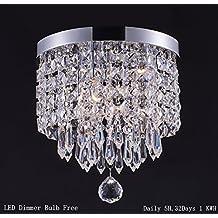 Smart Lighting-Shupregu 1-light Modern Crystal Chandelier, Pendant ceiling lamp, Chrome Finish Flush Mount Ceiling Pendent Light for Hallway, Bedroom, Kitchen, Kids Room, W8.66×H9.85 Inches, Dimmable LED Bulb Included