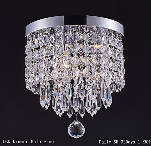 Smart Lighting 1-light Modern Crystal Chandelier, Pendant ceiling lamp, Chrome Finish Crystal Chandelier Pendent Light for Hallway, Bedroom, Kitchen, Kids Room, W8.66×H9.85 Inches, LED Bulb Included