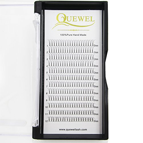 Quewel Lash Russian Volume Eyelash Extensions 3D C Curl 8-18mm Long Thickness 0.07 mm Premade Fans Volume Eyelashes Soft (3D-0.07-C, 10mm)