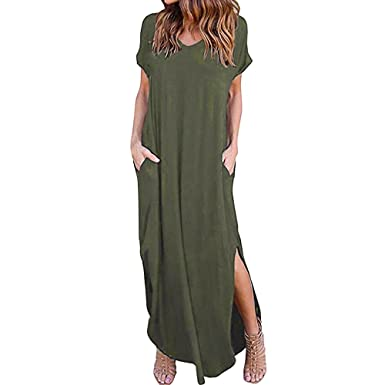 97703c14ce1c Women's Casual Loose Pocket Long Dress Short Sleeve Split Maxi Dresses  Loose Beach Cover Up Sundress