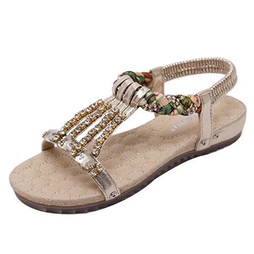 ZAMME Women's Bohemian String Bead Clip Toe Flat Sandals Shoes Gold tKiEfL