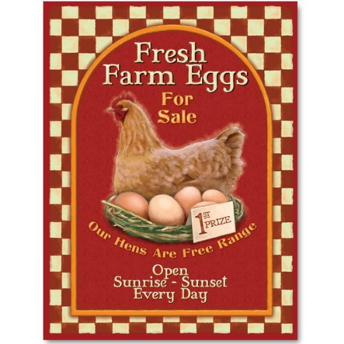 Farm Fresh Eggs For Sale Country Kitchen Metal Sign 12 x 16 by Alma