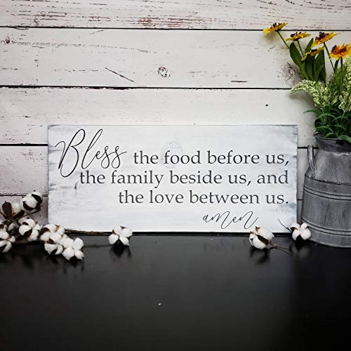 SWQAA Bless The Food Before Us Wood Sign/Prayer Sign/Farmhouse Kitchen Decor/Rustic/Christian Home Décor