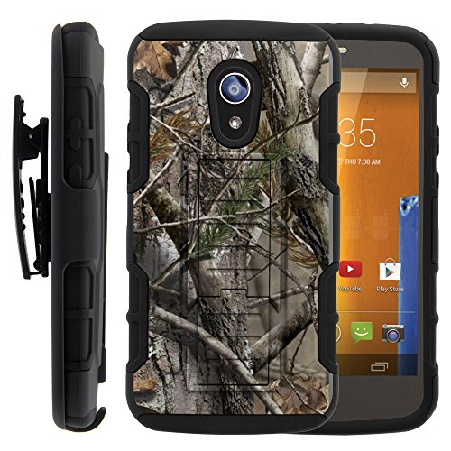 Moto G 2nd Gen Case, Moto G 2nd Gen Holster, High Impact Advanced Double Layered Hard Cover with Built in Kickstand and Belt Clip for Motorola Moto G 2014 2nd Generation XT1063 XT1064 XT1068 from MINITURTLE | Includes Screen Protector - Tree Bark Hunter Camouflage