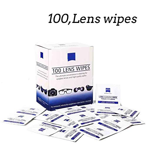Lens Wipes - Suitable for Eyeglasses, Cellphones, Tablets, Camera Lenses, Swim Goggles, and Other Delicate Surfaces -Pre-Moistened,100 Individually Wrapped