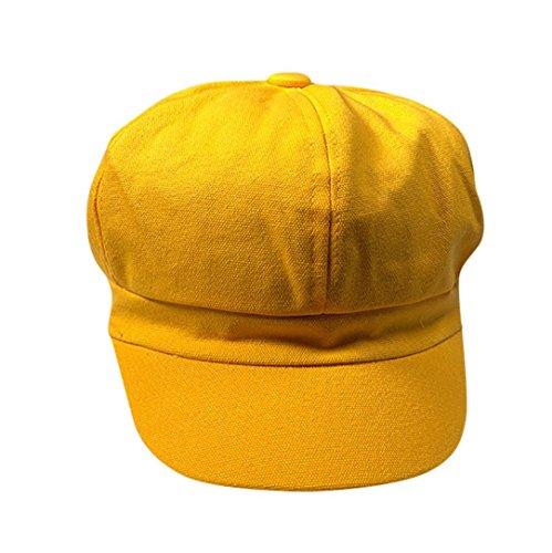 Transer Men Women Octagonal Beret Ivy Hat Cabbie Flat Cap Newsboy Cabby Hats Hunting Caps (Yellow) ()