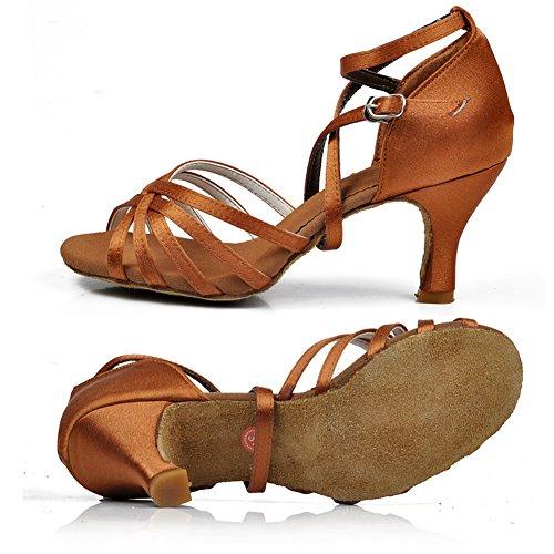 Zapatos Latino Salsa Yfch Oscuro Baile De Tango Marrón Tacón Salón Mujer Para Estándar Zapatillas AnqSaqBY