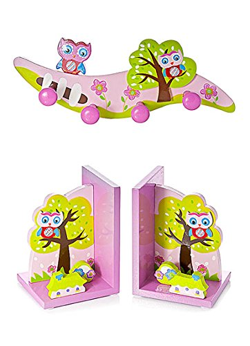 Mousehouse Gifts Kids Owl Coat Hooks and Matching Bookends for Girls Themed Bedroom or Baby Nursery GR-357-359