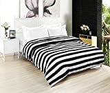 Black and White Duvet Covers Clearance, Kuality Black White Striped Soft Microfiber Easy Care Bedding Duvet Cover Wrinkle, Stain & Fade Resistant, Full/Queen Size, Stripe Pattern