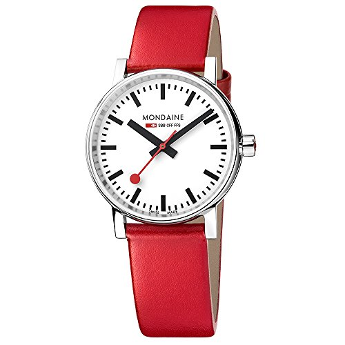 Mondaine 'SBB' Swiss Quartz Stainless Steel and Leather Casual Watch, Color:Red (Model: MSE.35110.LC)