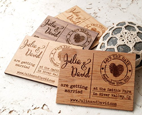 Wedding save the dates wooden save the date magnets set of 25 or 30 magnets
