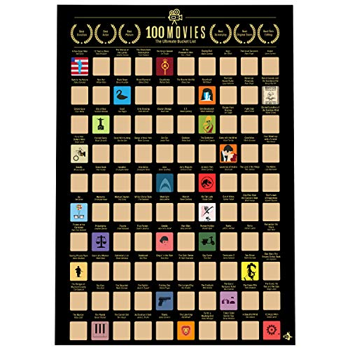 100 Movies Scratch Off Poster- Bucket List Poster- Quality Easy Off Gold Foil with Scratching Tool - 16.5 x 23.4 in - Bonus Item Greatest Movie Quotes ebook (The Best Posters Of All Time)
