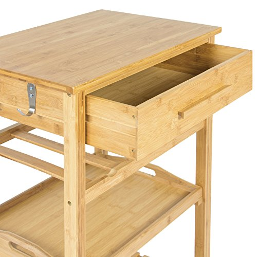 Eight24hours Rolling Wood Kitchen Storage Cart Rack With Drawer & Shelves Home Furniture by Eight24hours (Image #4)