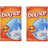 Bounce Fresh Linen Scented Fabric Softener Dryer Sheets, 240 Count(Pack of 2)