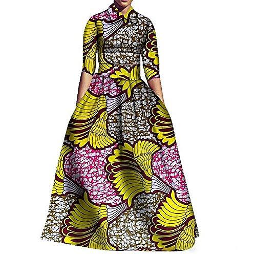 Liyuandian Womens African Print Dresses Dashiki Empire Waist Dress Turn Down Collar Tops 2pcs Yellow