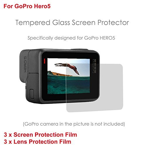 iKNOWTECH GoPro Hero 5 Screen & Lens Screen Protector, Pack of 6 LCD Dispaly Screen Protector + Lens Protector for GoPro Hero 5 Black Sport Camera HD Film Glass Protector by iKNOWTECH
