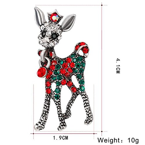 Modogirl Small Deer Brooch Pin Blue Red Crystal Brooches Pins Corsage Silver Plated for Girls Women Christmas