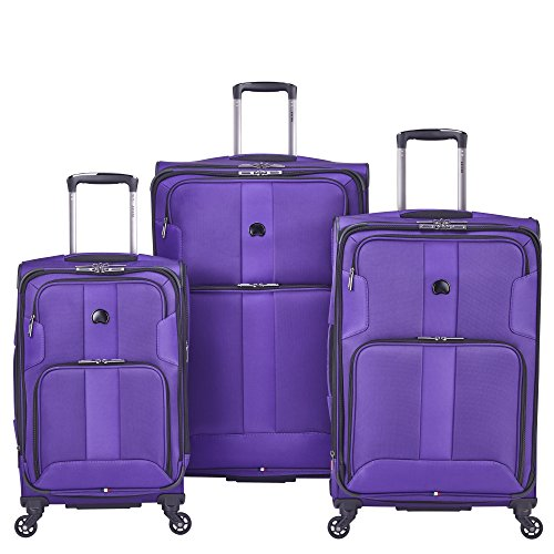 Delsey Paris Luggage Sky Max 3 Piece Spinner Suitcase Set, Purple