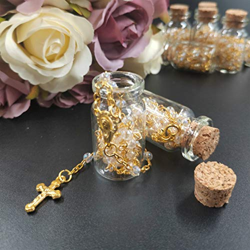 12pcs Rosary in Glass Jar Bottle Beads Blue Beaded Rosary Gold Catholic Crucifix Necklace Baby Baptism - Gold Glass Beaded Necklace