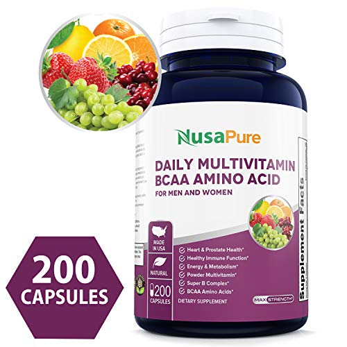 - Best Daily Multivitamin BCAA Amino Acid 200 caps (Non-GMO & Gluten Free) for Men & Women Won't Upset Your Stomach - Natural Energy - Anti Aging Immune System Support - 100% Money Back Guarantee!