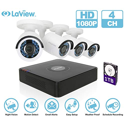 LaView 4 Channel Security Camera System, HD-TVI Video DVR Recorder, Security Cameras Waterproof IP66 CCTV Indoor Outdoor Security Camera with Night Vision. (Renewed)