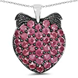 4.07 Carat Genuine Ruby Solid .925 Sterling Silver Strawberry Pendant