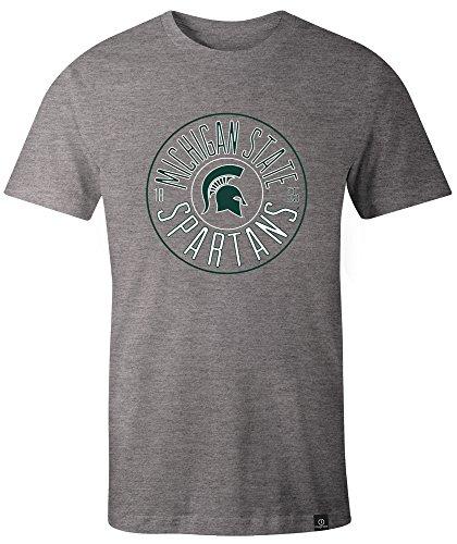 Image One NCAA Michigan State Spartans Adult Circles Everyday Short Sleeve T-Shirt, XX-Large,HeatherGrey